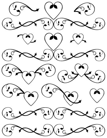 Swirling hearts designs. Unique graphics useful as page dividers, decorations, ornaments and separators.