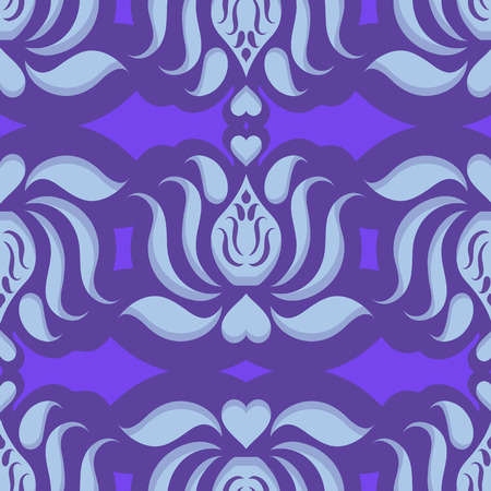 Seamless continuous wallpaper tile. Lotus flower design created in blue tones. Vector
