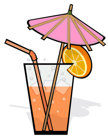 quencher: Drink garnished with a pink umbrella, straw and orange slice. Ice cubes and carbonated beverage in glass. Isolated on white background. Illustration