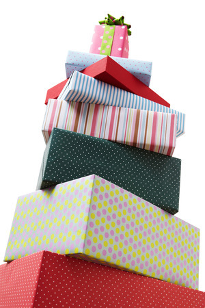 Wrapped presents stacked in the form of a pyramid with cute Gift boxe at the top Group of presents Gift boxes with origami bows  Banco de Imagens