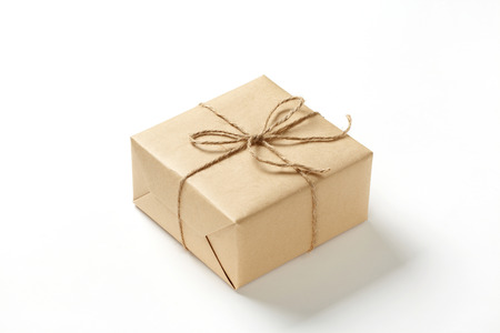 brown gift box on white background brown Gift box with brown ribbon