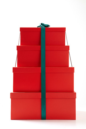 boxs: gift boxes with decorative bows on white background.  Group of presents. Gift boxs with origami bows. Stock Photo