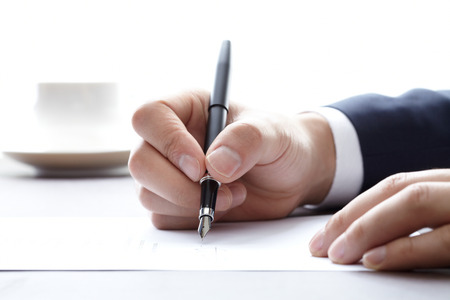 pen and paper: The signature and fountain pen  Stock Photo