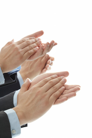 인식: 격리 된 흰색 배경에 박수 손 스톡 사진