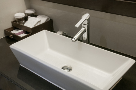 sinks: Faucets and sinks ceramic white.