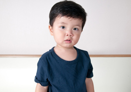 gasping: asian toddler boy portrait