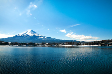 Mt Fuji in the early morning with reflection on the lake kawaguchiko.