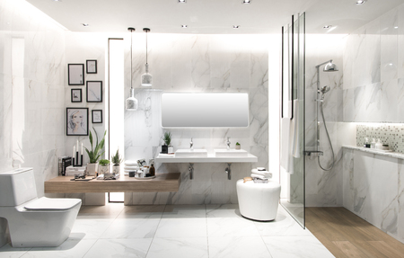 sink: Nonthaburi, Thailand-May 2, 2017 : Bathroom interior with sink and faucet. ArchitectExpo 60 IMPACT Exhibition and Convention Center