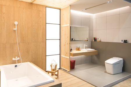 bathroom interior: Nonthaburi, Thailand-May 2, 2017 : Bathroom interior with sink and faucet. ArchitectExpo 60 IMPACT Exhibition and Convention Center