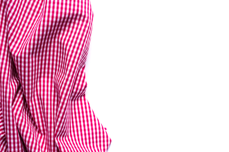 Red Checkered Fabric on white Background. Stock Photo
