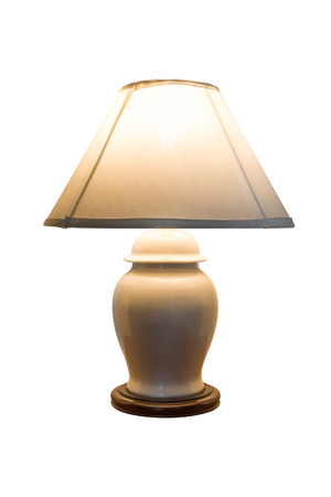 old table lamp isolated on white background.