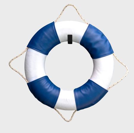 White and blue lifebuoy on white background