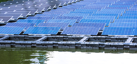 Solar power station float on water,Ecological energy renewable solar panel plant electric power. Reklamní fotografie
