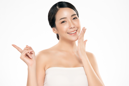 Beautiful Young Asian Woman with Clean Fresh Skin. Face care, Facial treatment, Cosmetology, beauty and spa, 版權商用圖片