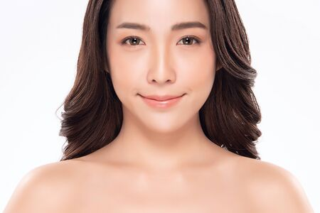 Beautiful Asian woman smile with clean and fresh skin Happiness and cheerful with positive emotional,isolated on white background,Beauty and Cosmetics Concept,