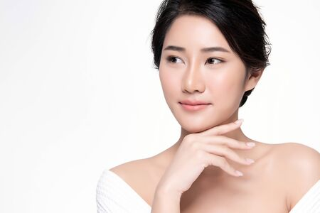 Portrait beautiful young asian woman clean fresh skin concept. Asian girl beauty face skincare and health wellness, Facial treatment, Perfect skin, Natural make up, on white background.