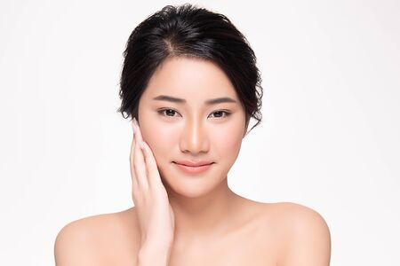 Portrait beautiful young asian woman clean fresh skin concept. Asian girl beauty face skincare and health wellness, Facial treatment, Perfect skin, Natural make up, on white background. Stock Photo