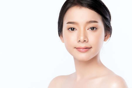 Portrait beautiful young asian woman clean fresh skin concept. Asian girl beauty face skincare and health wellness, Facial treatment, Perfect skin, Natural makeup, on white background.