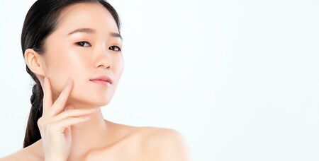 Beautiful Young asian Woman touching her clean face with fresh Healthy Skin, isolated on white background, Beauty Cosmetics and Facial treatment Concept, Banque d'images