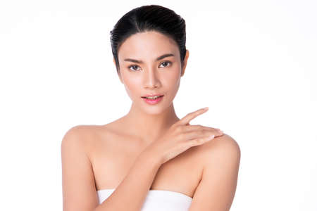 Beautiful Young asian Woman with Clean Fresh Skin, on white background, Face care, Facial treatment, Cosmetology, beauty and spa, Asian women portrait