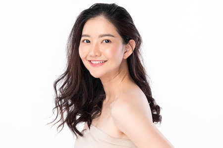 Beautiful young asian woman with clean fresh skin on white background, Face care, Facial treatment, Cosmetology, beauty and spa, Asian women portrait Foto de archivo - 155176981