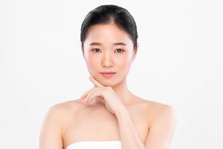 Beautiful young asian woman with clean fresh skin on white background, Face care, Facial treatment, Cosmetology, beauty and spa, Asian women portrait Foto de archivo - 155176983