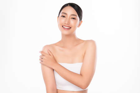 Beautiful young asian woman with clean fresh skin on white background, Face care, Facial treatment, Cosmetology, beauty and spa, Asian women portrait Foto de archivo - 155093147