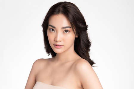 Beautiful young asian woman with clean fresh skin on white background, Face care, Facial treatment, Cosmetology, beauty and spa, Asian women portrait Foto de archivo - 155206764