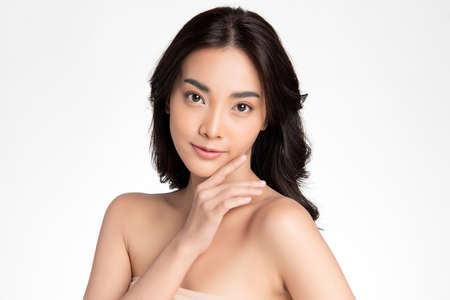 Beautiful young asian woman with clean fresh skin on white background, Face care, Facial treatment, Cosmetology, beauty and spa, Asian women portrait Foto de archivo - 155206752
