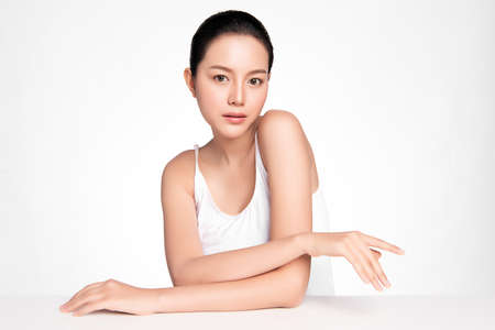 Beautiful young asian woman with clean fresh skin on white background, Face care, Facial treatment, Cosmetology, beauty and spa, Asian women portrait Foto de archivo - 155274633