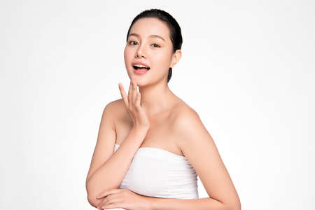 Beautiful young asian woman with clean fresh skin on white background, Face care, Facial treatment, Cosmetology, beauty and spa, Asian women portrait Foto de archivo - 155270058