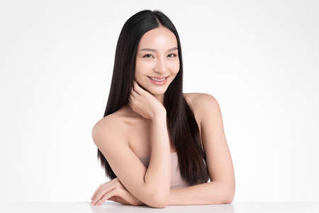 Beautiful young asian woman with clean fresh skin on white background, Face care, Facial treatment, Cosmetology, beauty and spa, Asian women portrait Foto de archivo - 155352770