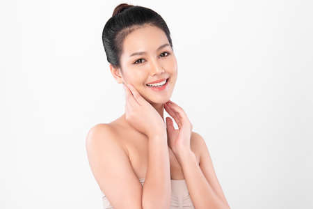 Beautiful young asian woman with clean fresh skin on white background, Face care, Facial treatment, Cosmetology, beauty and spa, Asian women portrait Foto de archivo - 155409607