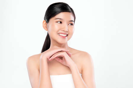 Beautiful young asian woman with clean fresh skin on white background, Face care, Facial treatment, Cosmetology, beauty and spa, Asian women portrait Foto de archivo - 155426537