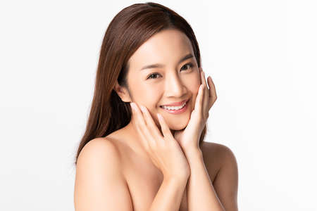 Beautiful young asian woman with clean fresh skin on white background, Face care, Facial treatment, Cosmetology, beauty and spa, Asian women portrait 스톡 콘텐츠