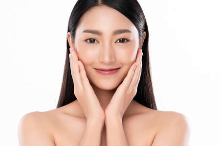 Beautiful young asian woman with clean fresh skin on white background, Face care, Facial treatment, Cosmetology, beauty and spa, Asian women portrait Standard-Bild