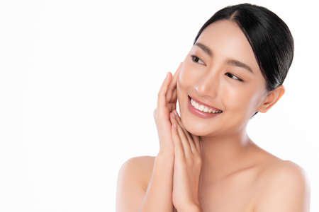 Beautiful young asian woman with clean fresh skin on white background, Face care, Facial treatment, Cosmetology, beauty and spa, Asian women portrait Foto de archivo