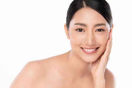 Beautiful young asian woman with clean fresh skin on white background, Face care, Facial treatment, Cosmetology, beauty and spa, Asian women portrait Stockfoto