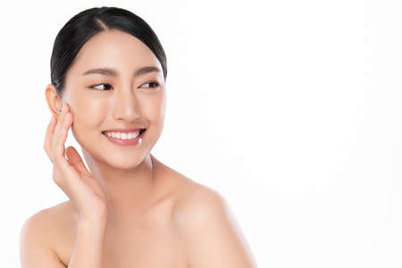Beautiful young asian woman with clean fresh skin on white background, Face care, Facial treatment, Cosmetology, beauty and spa, Asian women portrait Stock fotó