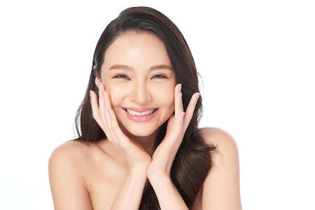 Beautiful young asian woman with clean fresh skin on white background, Face care, Facial treatment, Cosmetology, beauty and spa, Asian women portrait Imagens
