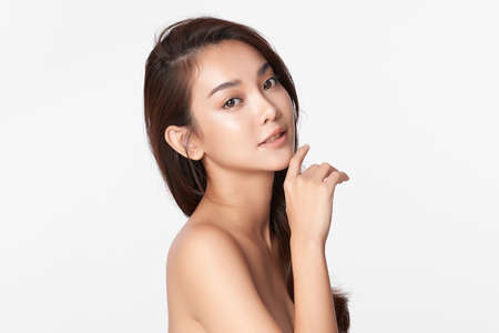 Beautiful young asian woman with clean fresh skin on white background, Face care, Facial treatment, Cosmetology, beauty and spa, Asian women portrait. Stock fotó