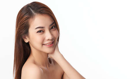 Beautiful young asian woman with clean fresh skin on white background, Face care, Facial treatment, Cosmetology, beauty and spa, Asian women portrait. Banco de Imagens