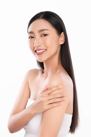 Beautiful young asian woman with clean fresh skin on white background, Face care, Facial treatment, Cosmetology, beauty and spa, Asian women portrait. Stock Photo