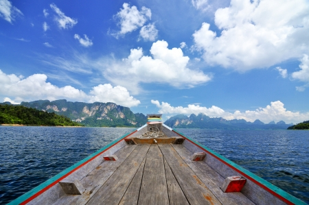 guilin: Green Lake with perfect sky at Ratchaprapa dam, Khaosok National Park, Thailand