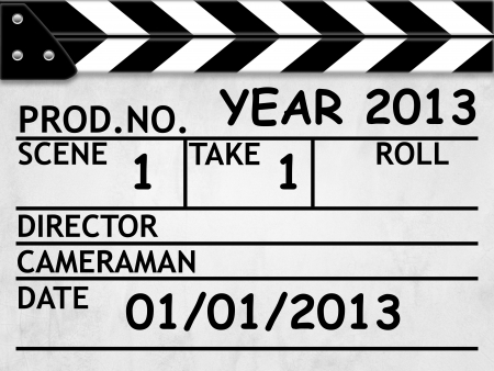 cOVER calendar YEAR 2013 clapper board or slate style photo