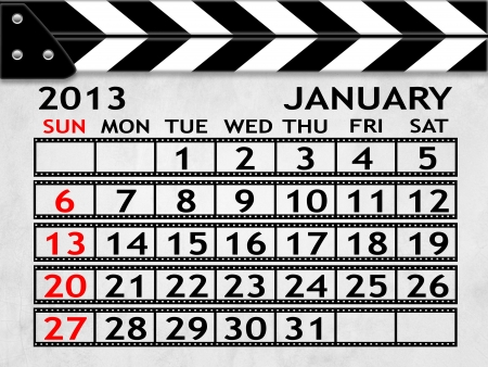 calendar JANUARY 2013 clapper board or slate style photo
