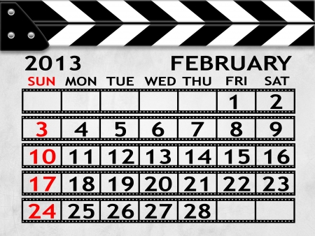 calendar FEBRUARY 2013 clapper board or slate style photo