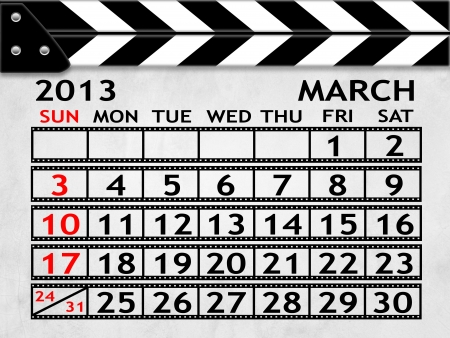 calendar MARCH2013 clapper board or slate style photo