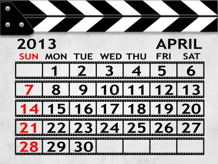 calendar APRIL 2013 clapper board or slate style photo
