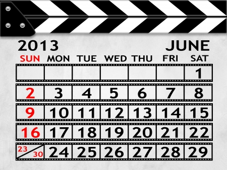 calendar JUNE 2013 clapper board or slate style photo